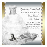 Elegant Gold and White Quinceanera Personalized Invitation