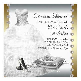 Elegant Gold and White Quinceanera Personalized Invitation