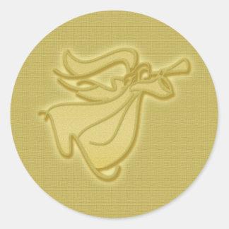 Elegant gold Angel Classic Round Sticker