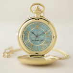 "Elegant Gold Aqua Personalized Pocket Watch<br><div class=""desc"">Elegant Gold and Aqua Blue Green Personalized Pocket Watch.  Simple and elegant with room for your thoughtful words.</div>"