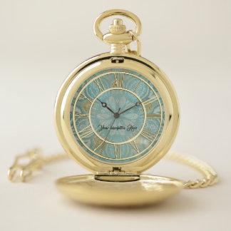 Elegant Gold Aqua Personalized Pocket Watch