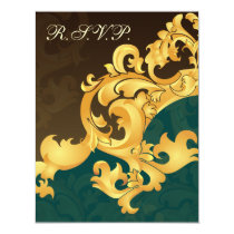elegant gold aqua wedding RSVP Card