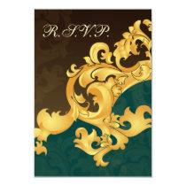 elegant gold aqua wedding RSVP Standard 3.5 x 5 Card