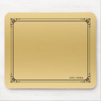Elegant Gold Background Black Vintage Frame Mouse Pad