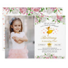 Elegant Gold Ballerina Floral Girl Photo Birthday Card