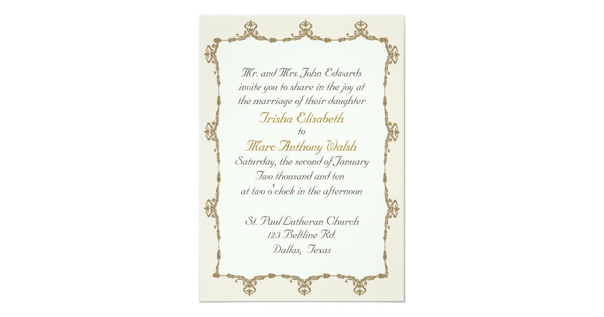 Baroque Wedding Invitations: Elegant Gold Baroque Wedding Invitation
