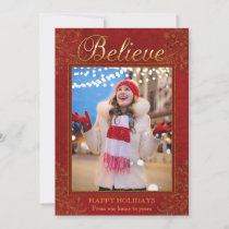 Elegant Gold Believe Script | Photo Holiday Card