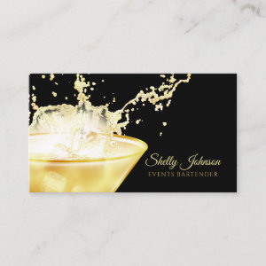 Elegant Gold Beverage Splash Events Bartender Business Card