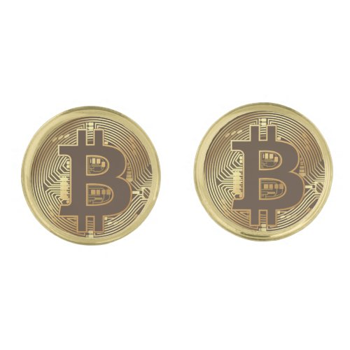 Elegant Gold Bitcoin Currency Icon Cufflinks