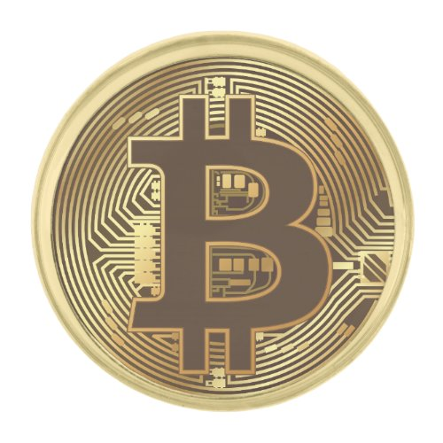 Elegant Gold Bitcoin Currency Icon Gold Finish Lapel Pin
