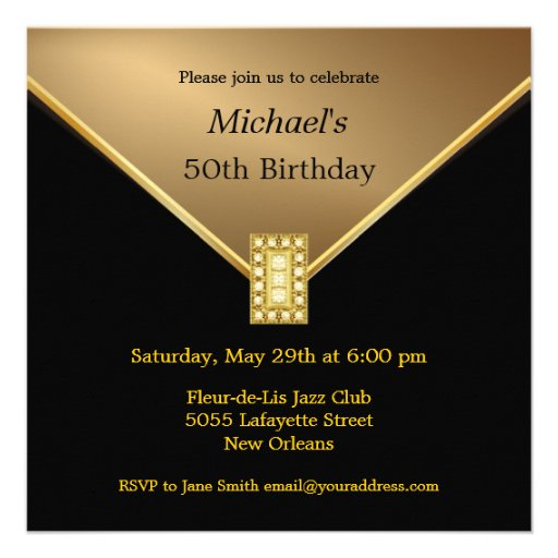 Elegant Gold Black 50th Birthday Party Invitations (front side)