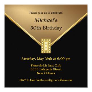 "Elegant Gold Black 50th Birthday Party Invitations 5.25"" Square Invitation Card"