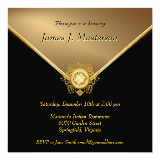Elegant Gold Black 50th Birthday Surprise Party In Personalized Invite (back side)