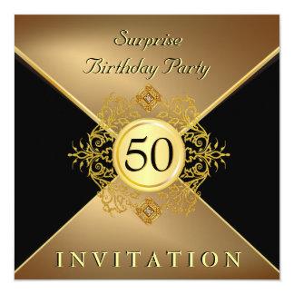 Elegant Gold Black 50th Birthday Surprise Party In Invitation