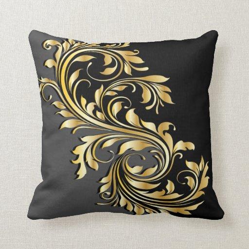 Decorative Pillows Black And Grey : Elegant Gold, Black and Grey Design Throw Pillow Zazzle