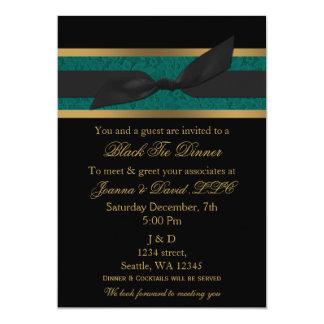 Elegant Gold Black Aqua Corporate party Invitation