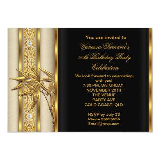 "Elegant Gold Black Asian Bamboo Caramel Beige 2 4.5"" X 6.25"" Invitation Card"