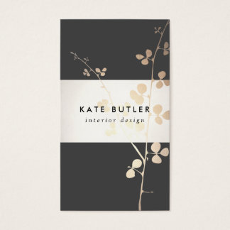Elegant Gold Black Branch Interior Designer Business Card