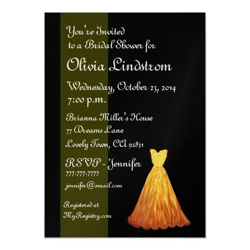 Elegant Gold & Black Bridal Metallic Shower 5x7 Paper Invitation Card