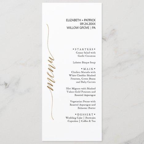 Elegant Gold & Black Calligraphy Dinner Menu Card