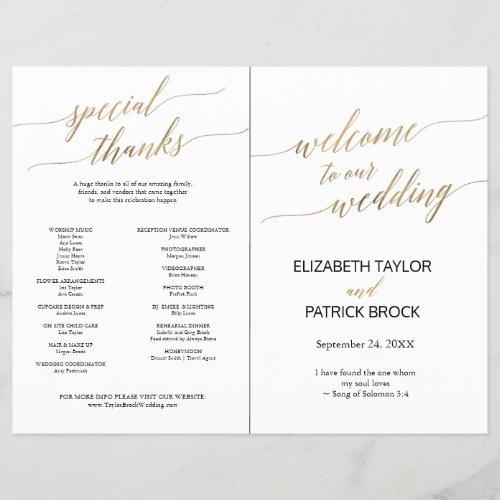 Elegant Gold Black Calligraphy Folded Full Program