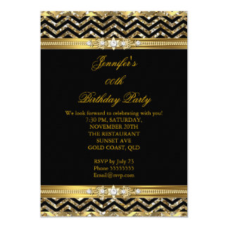 Black And Gold Chevron Birthday Invitations Announcements Zazzle - Birthday invitation gold coast