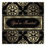 Elegant Gold Black Damask Party Invitations
