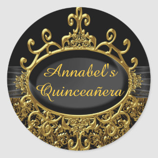 Elegant Gold & Black Damask Quinceanera Sticker