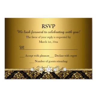 Elegant Gold & Black Damask RSVP Card