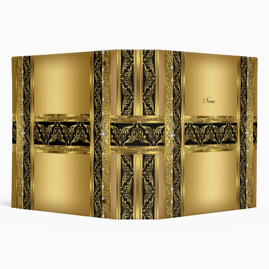 Elegant Gold Black Diamond Binder
