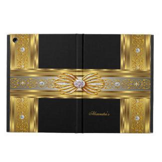 Elegant Gold Black Diamond Bow Jewel Image iPad Air Cover