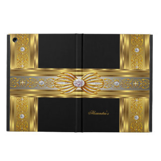 Elegant Gold Black Diamond Bow Jewel Image Cover For iPad Air