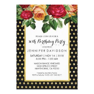 ELEGANT GOLD BLACK FLORAL BIRTHDAY PARTY CARD