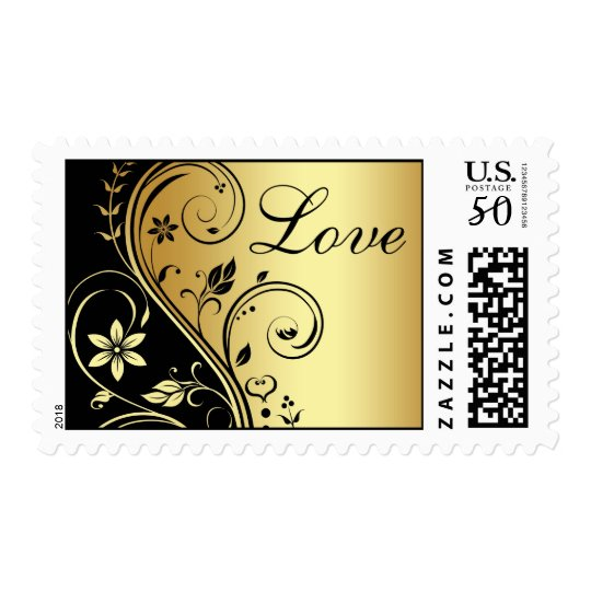 Elegant Gold & Black Floral Love Wedding Postage