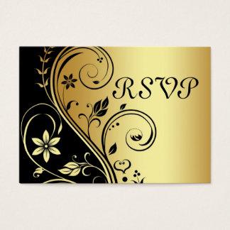Elegant Gold & Black Floral Scroll  RSVP Card