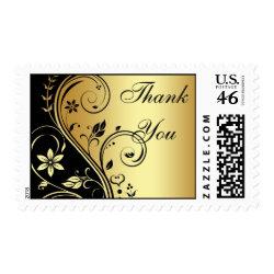 Elegant Gold & Black Floral Thank You Postage stamp
