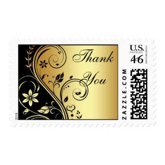 Elegant Gold & Black Floral Thank You Postage