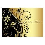 Elegant Gold & Black Flower Scroll Business Card