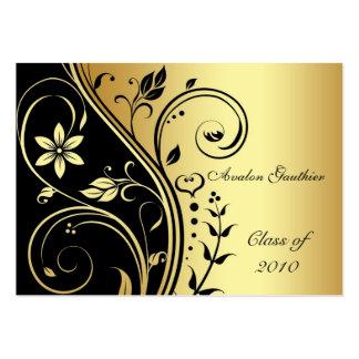 Elegant Gold & Black Flower Scroll Graduation Card