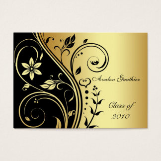 Elegant Gold & Black Flower Scroll Graduation Card