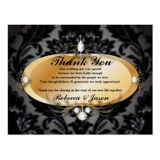 Elegant Gold black formal damask Wedding thank you Postcard
