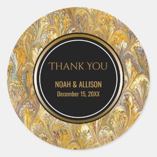 Elegant Gold Black   Formal Wedding Favor Classic Round Sticker