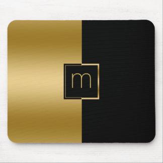 Elegant Gold & Black Geometric Design Mouse Pad