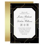 Elegant Gold & Black Geometric Rehearsal Dinner Card
