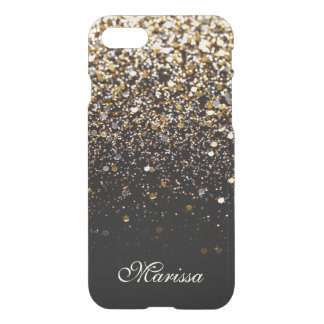 Elegant Gold Black Glitter Clearly™ iPhone 7 Case