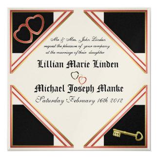 "Elegant Gold & Black Heart Wedding Invitation 5.25"" Square Invitation Card"