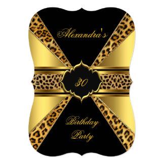 Elegant Gold Black Leopard 30th Birthday Party 4B Card