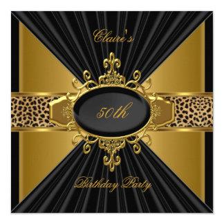 Elegant Gold Black Leopard 50th Birthday Party Card