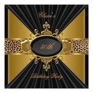 Elegant Gold Black Leopard 50th Birthday Party Invite