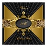 Elegant Gold Black Leopard 50th Birthday Party 5.25x5.25 Square Paper Invitation Card
